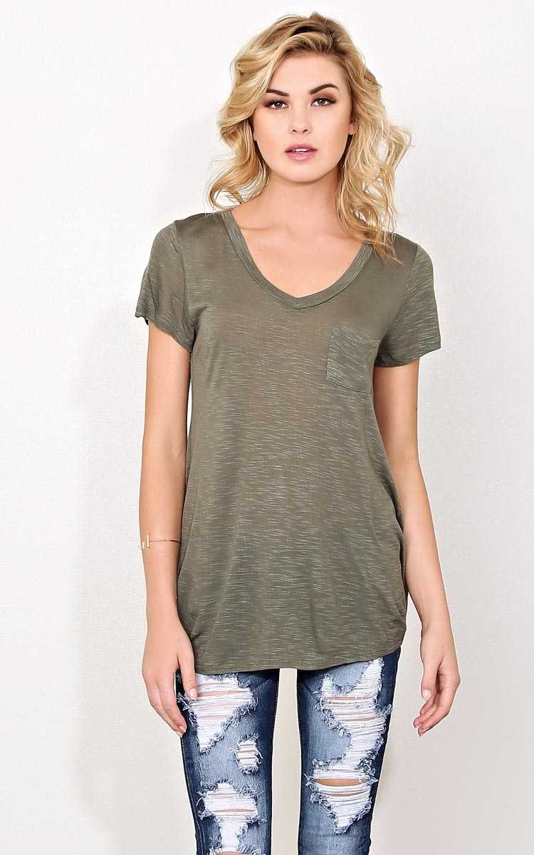 Olive Slub Knit Pocket Tee - - Olive/Drab in Size by Styles For Less