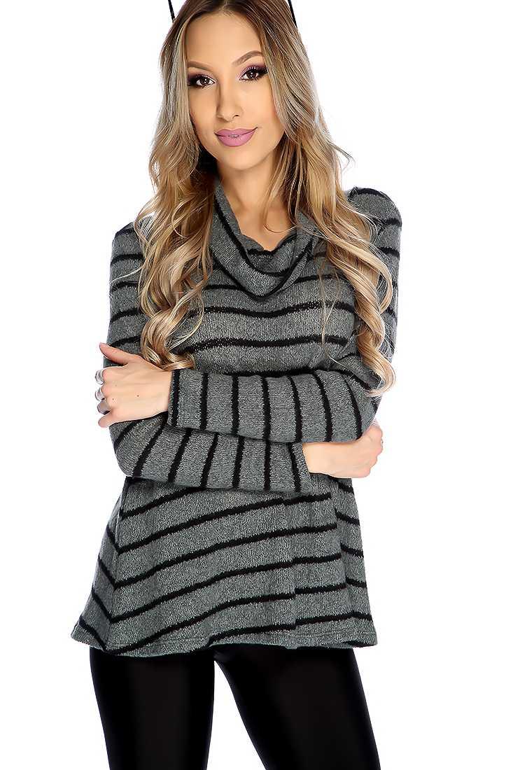 Sage Black Stylish Long Sleeve Mock Neck Sweater
