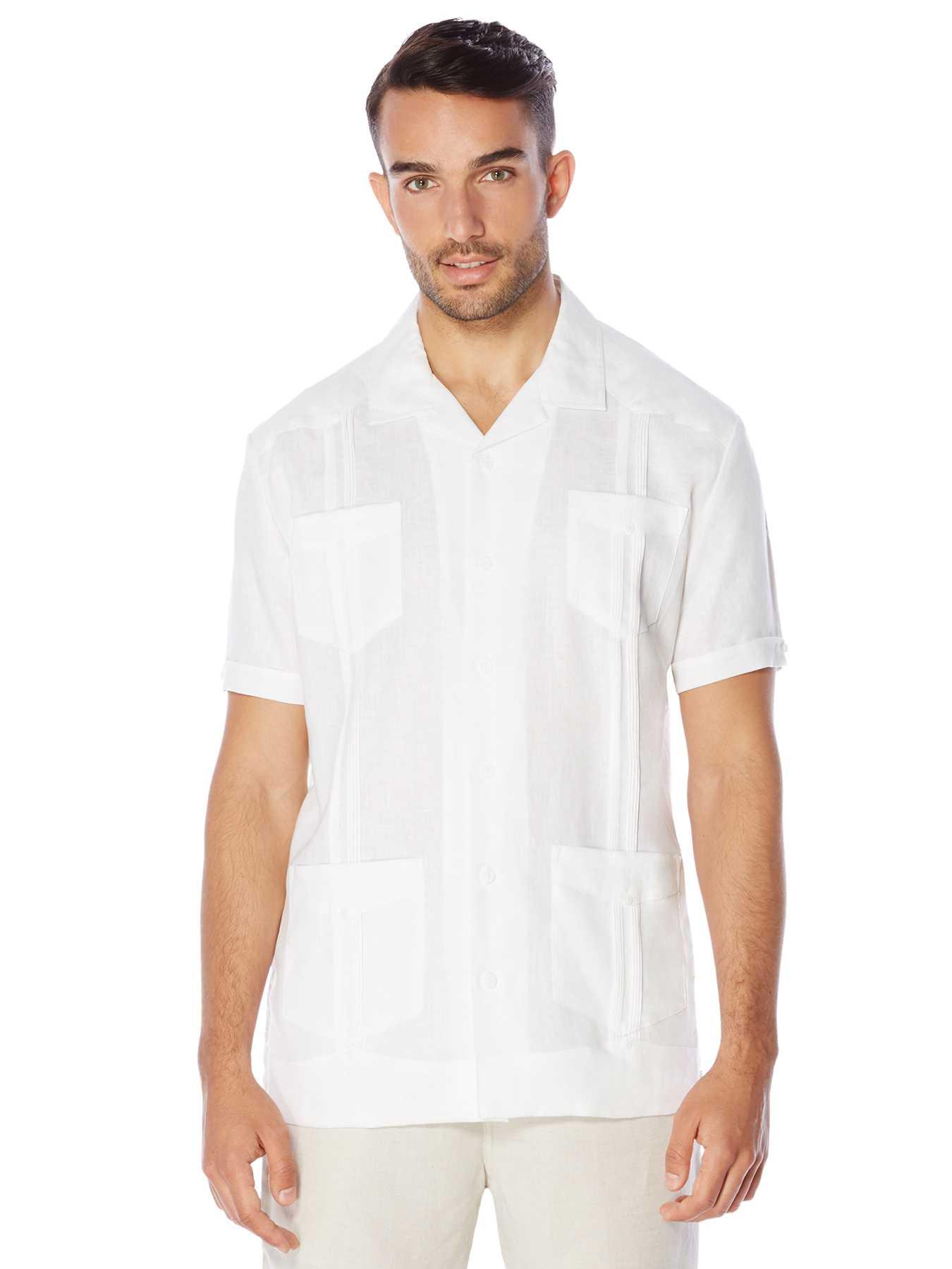Cubavera Slim Fit 100% Linen Short Sleeve Guayabera