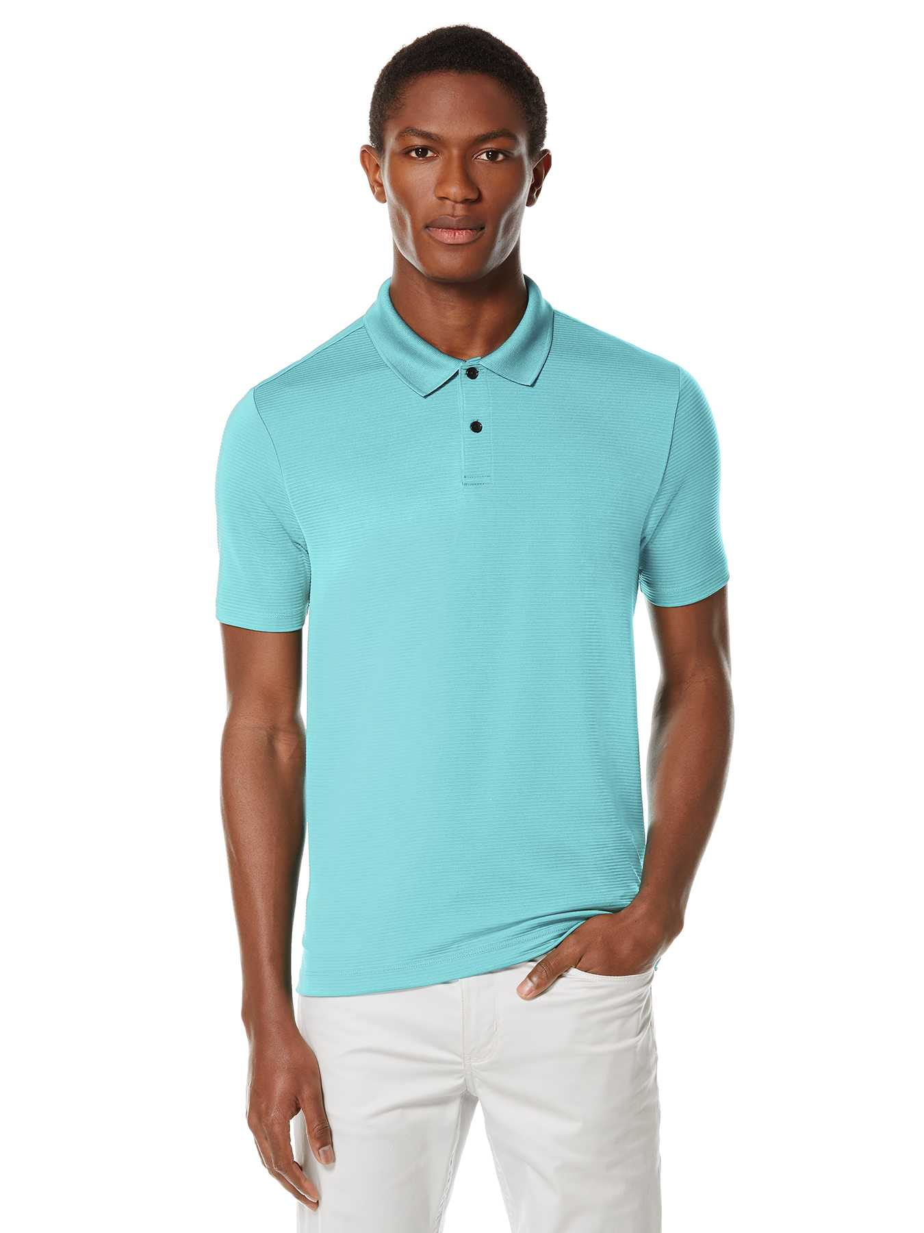 Perry Ellis Short Sleeve Textured Rib Polo