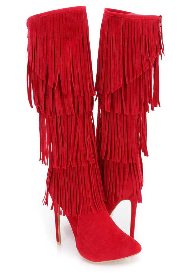 Red Fringe Tiered Heel Boots Faux Suede