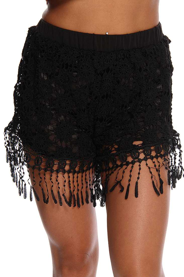 Black Crochet Floral Shorts