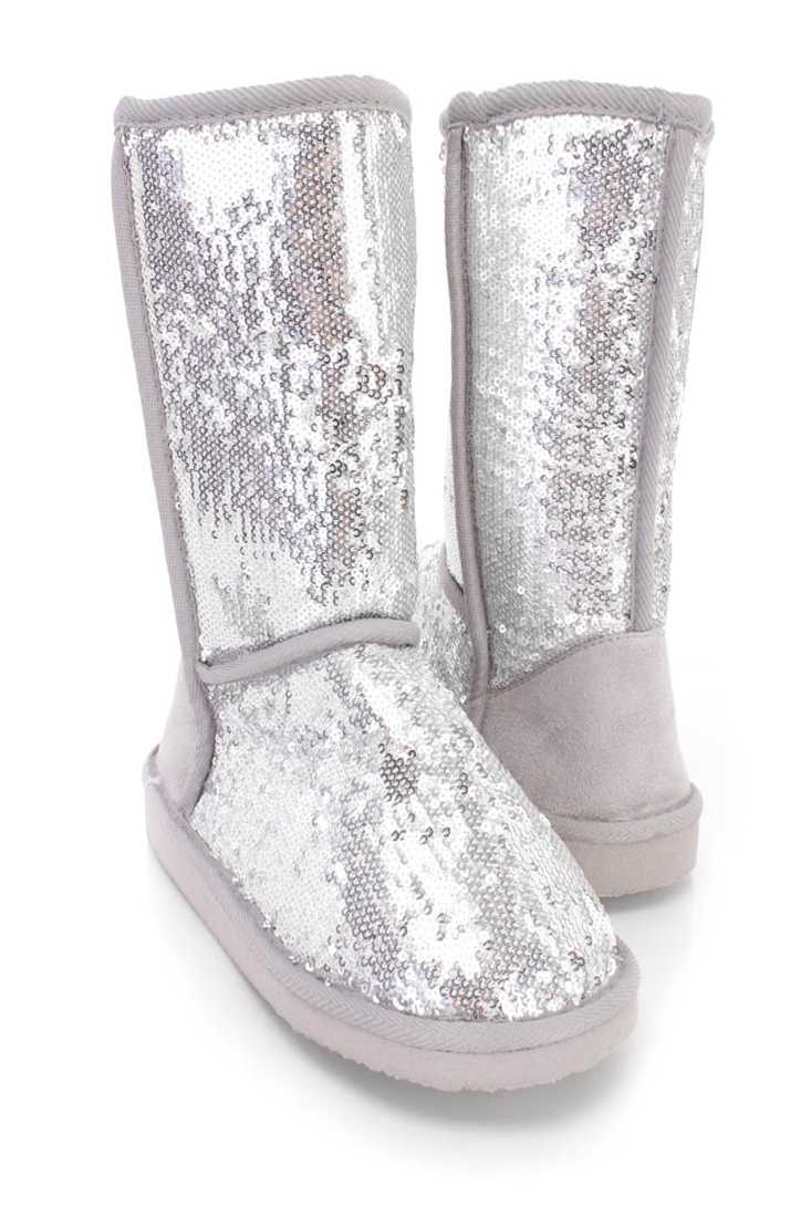 Silver Slip On Casual Flat Boots Sequin