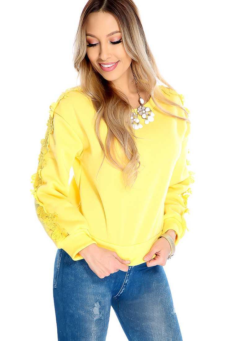Yellow Long Sleeve Floral Crochet Trim Sweater