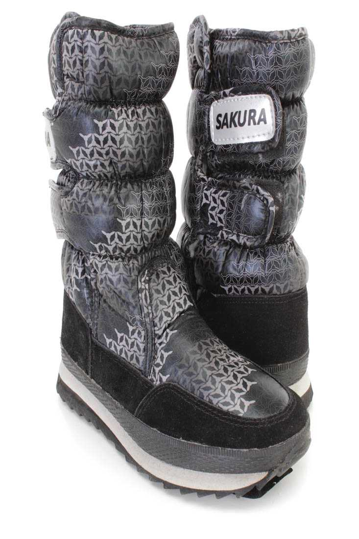 Grey Gradient Pattern Puffed Snow Boots Nylon