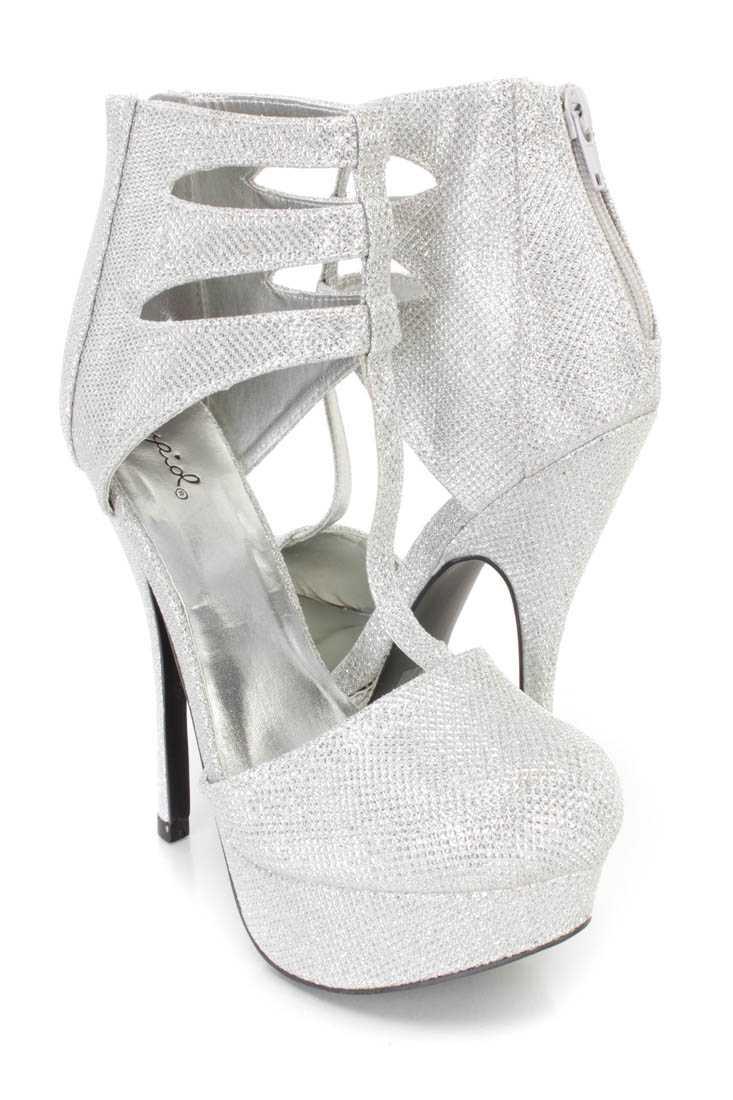 Silver T Strap Platform High Heels Glitter