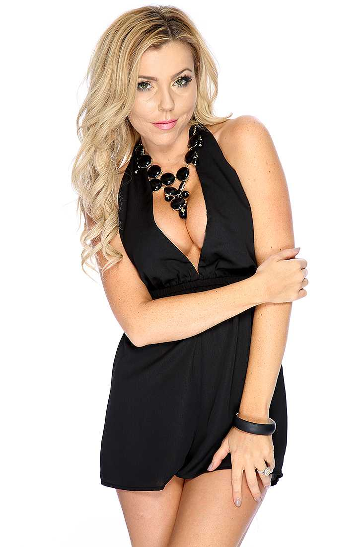 Cute Sleeveless V-Neck Halter Black Casual Romper