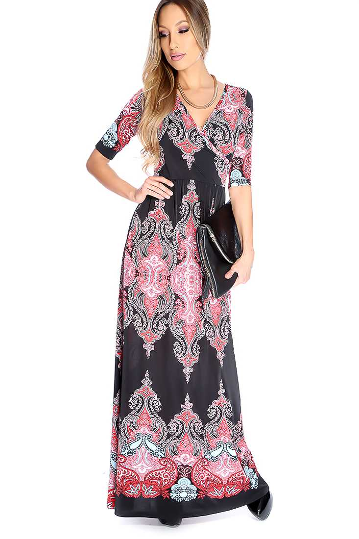 Sexy Red Black Paisley Print Print Maxi Dress