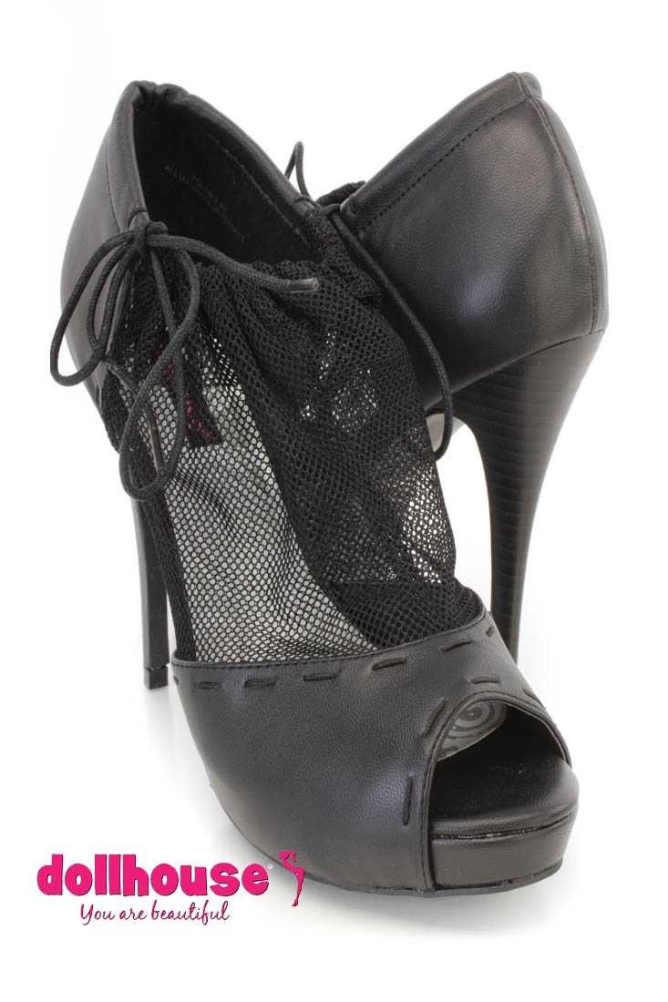 Black Mesh Drawstring Peep Toe Booties Faux Leather