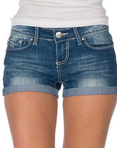 ESSENTIALS WOMENS Blue Clothing / Denim Shorts 0
