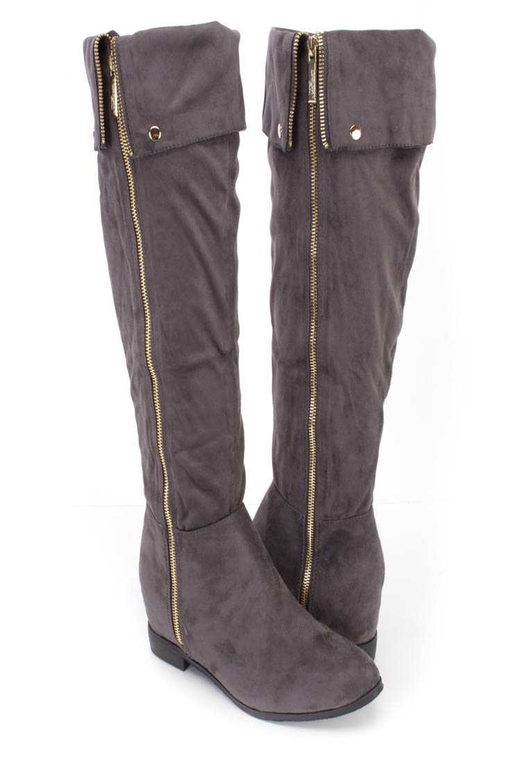 Grey Knee High Cuffed Boots Faux Suede