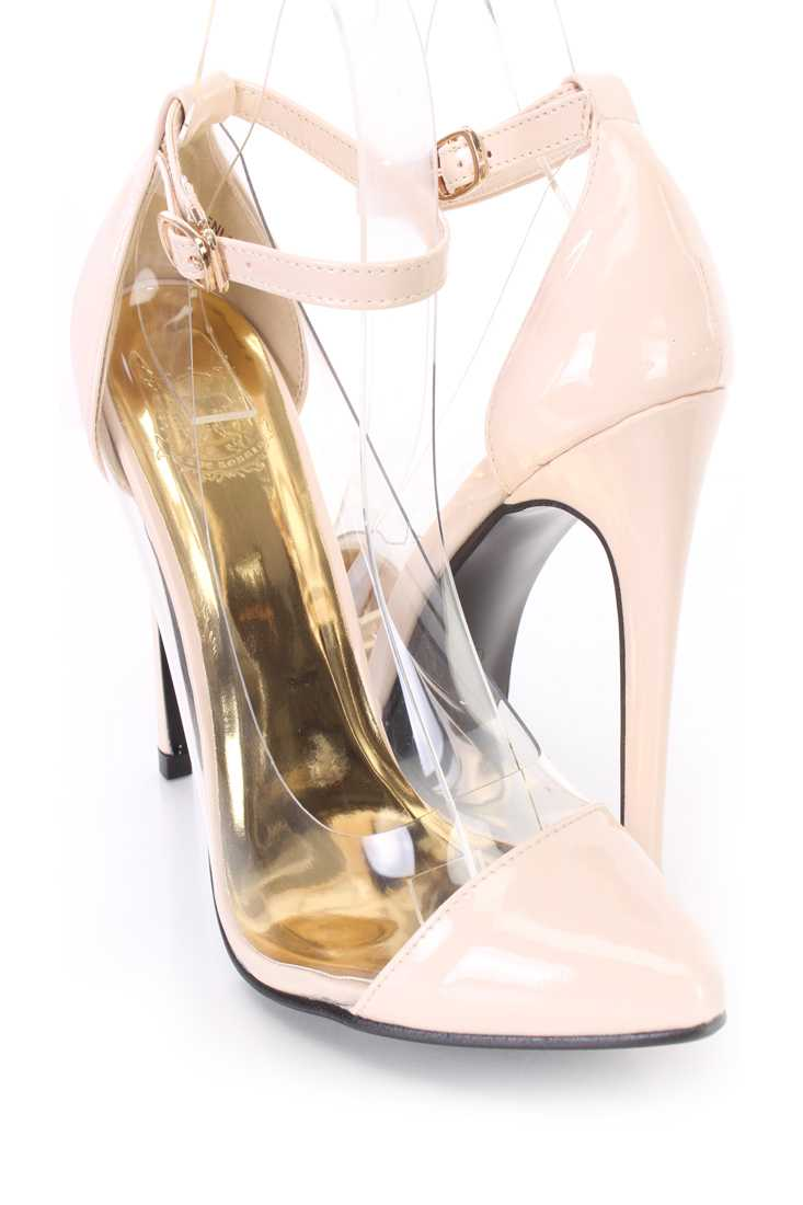 Nude Clear Trimmed Single Sole Heels Patent