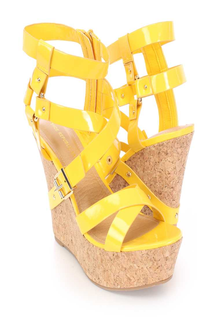 Yellow Buckle Strappy Cork Platform Wedges Patent