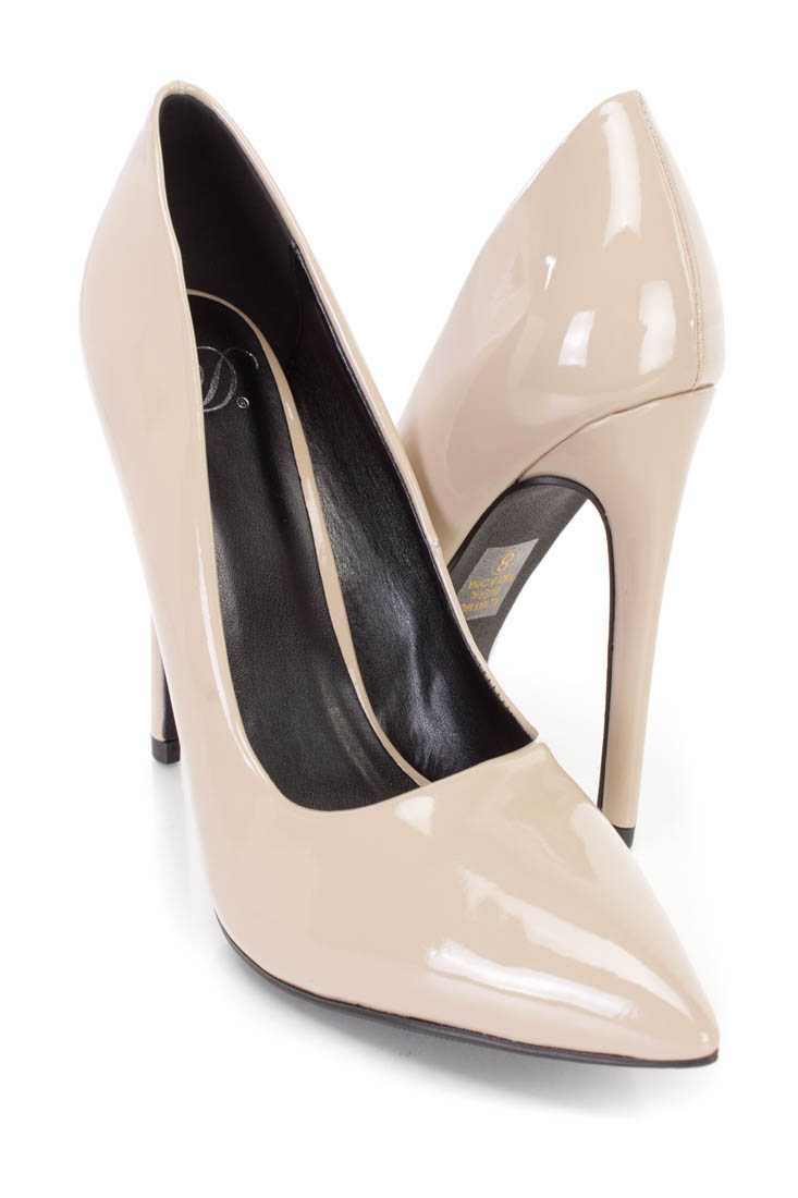 Dark Beige Single Sole Pump High Heels Patent