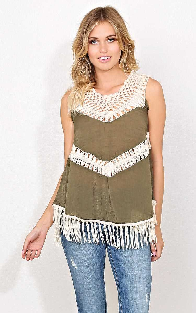Spring Encounter Woven Tank - - Olive/Drab in Size by Styles For Less