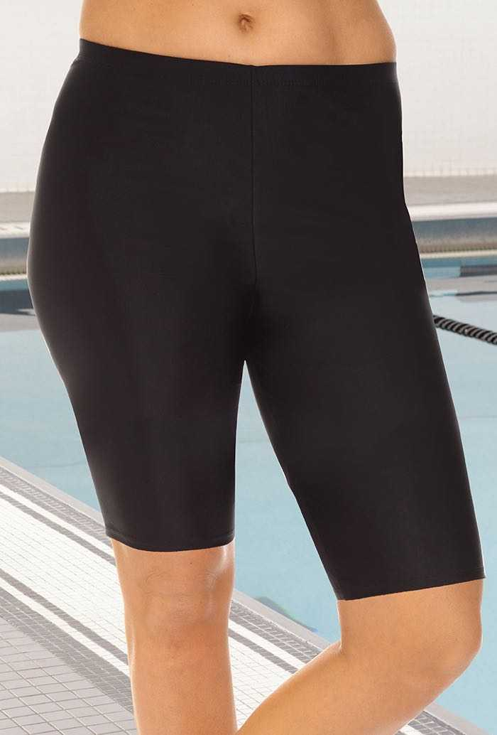 Chlorine Resistant Black Long Bike Short