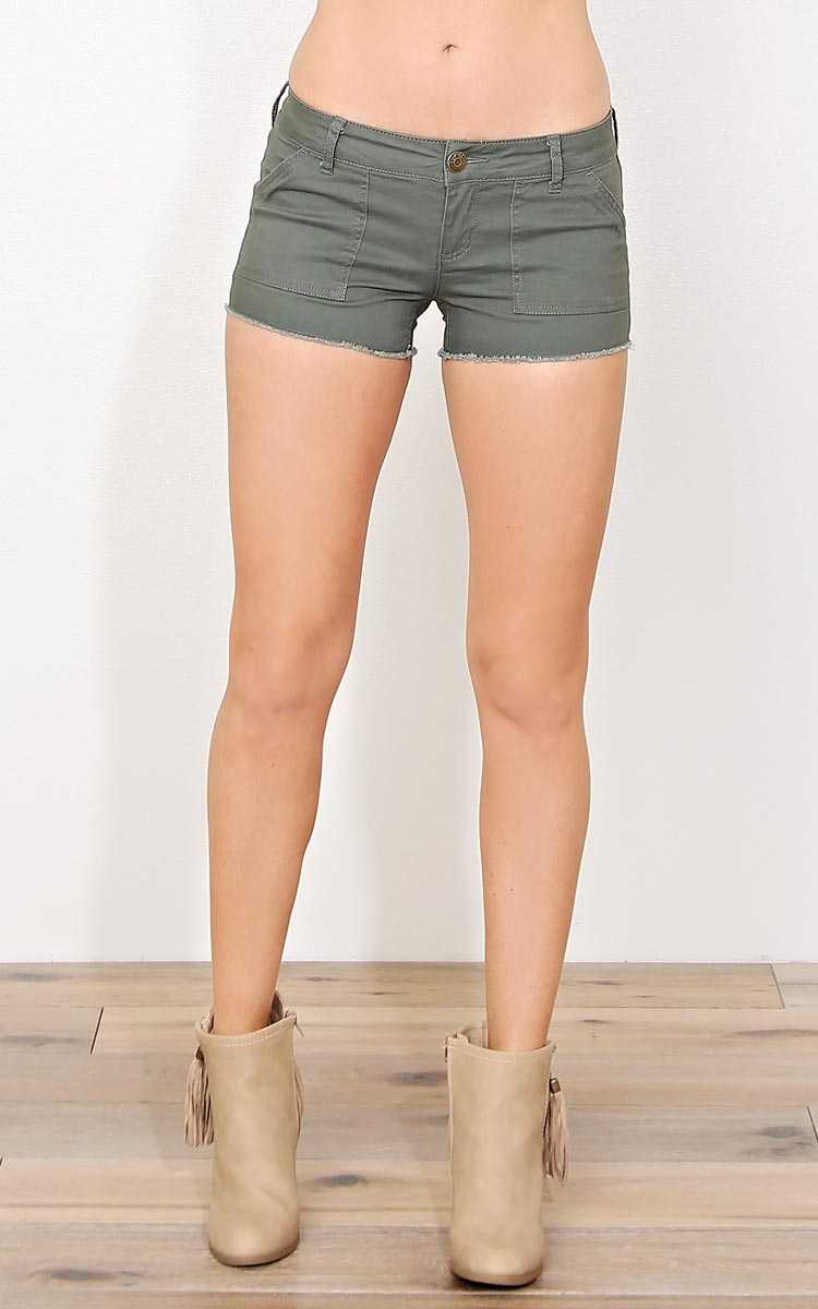 Ina Frayed Hem Denim Shorts - Olive/Drab in Size by Styles For Less