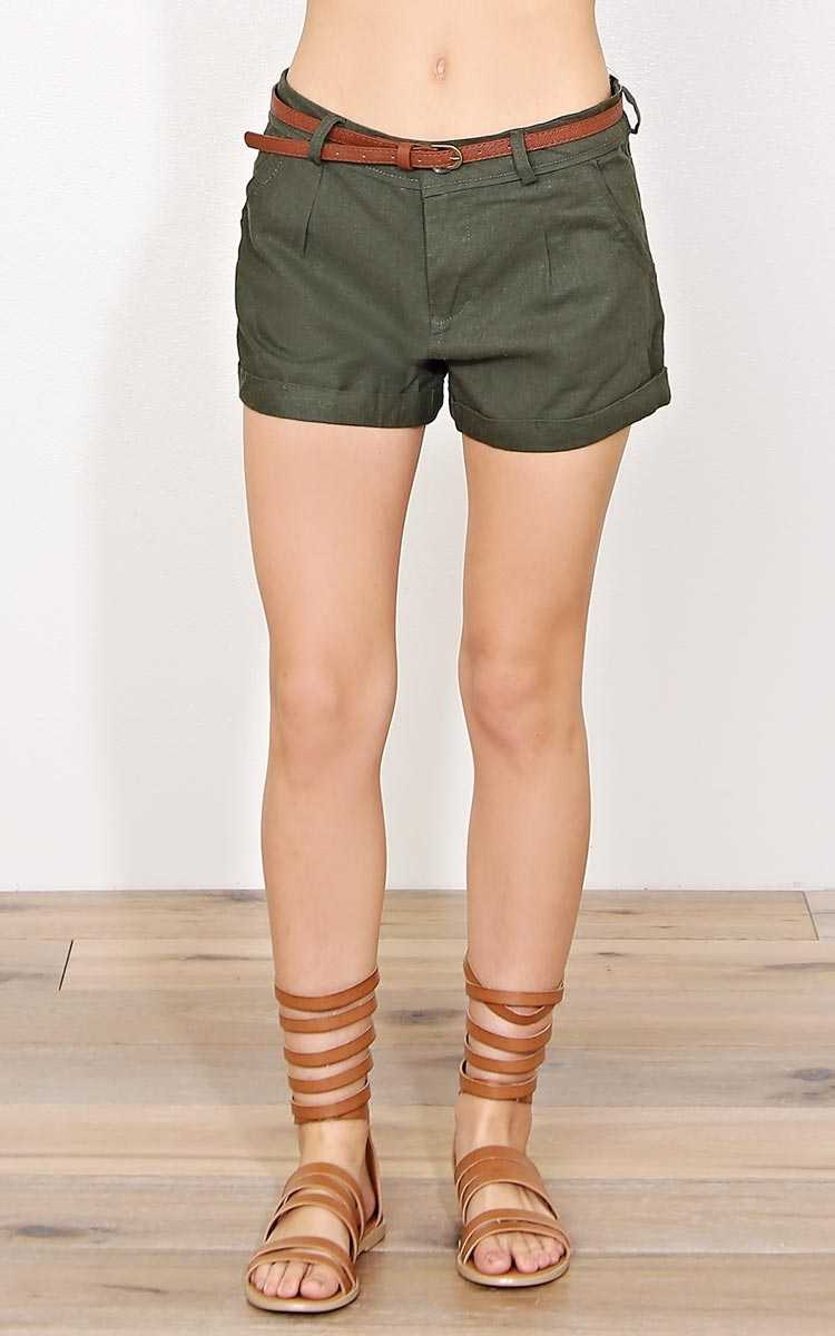Olive Belted Linen Shorts - - Olive/Drab in Size by Styles For Less
