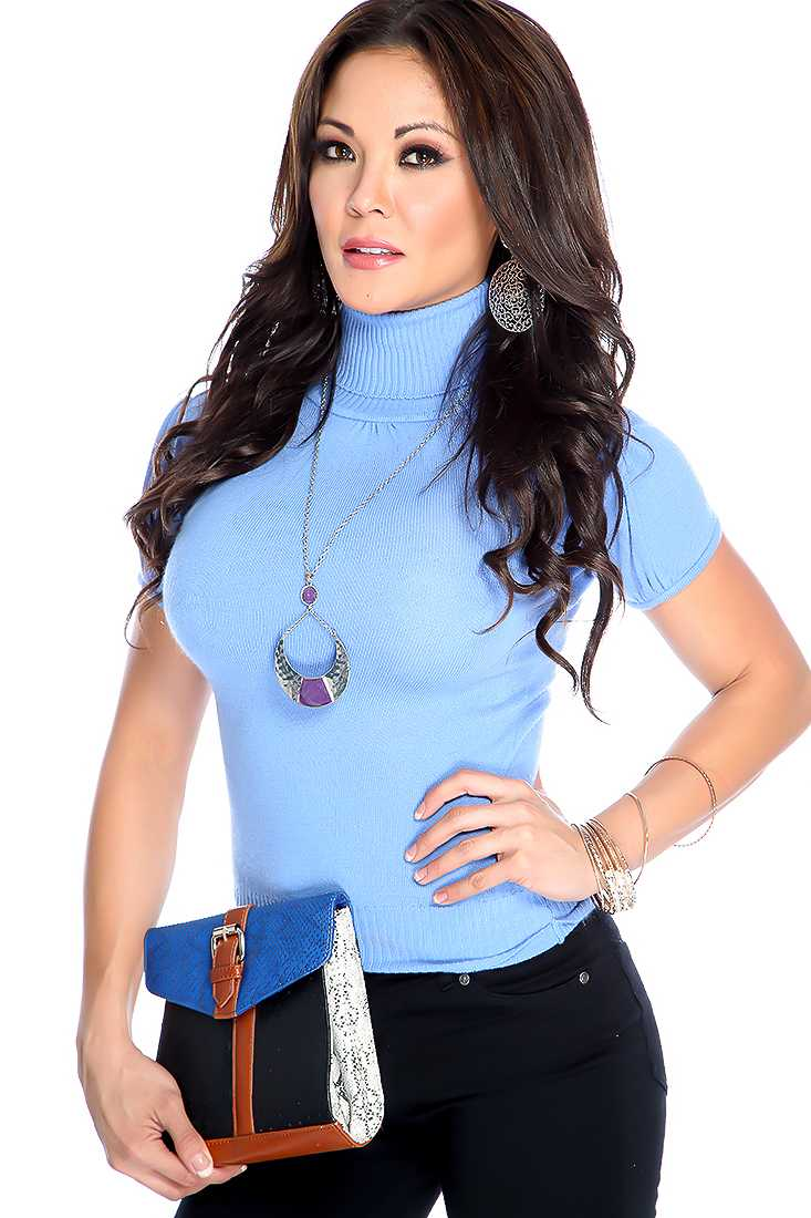 Periwinkle Short Sleeve Turtle Neck Casual Top