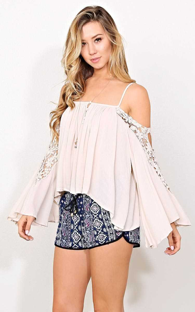 Sundance Woven Cold Shoulder Top - - Natural in Size by Styles For Less