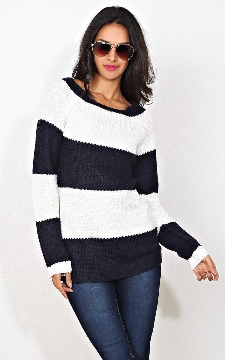 Elsie Striped Waffle Knit Sweater - XLGE - Navy Combo in Size X-Large by Styles For Less