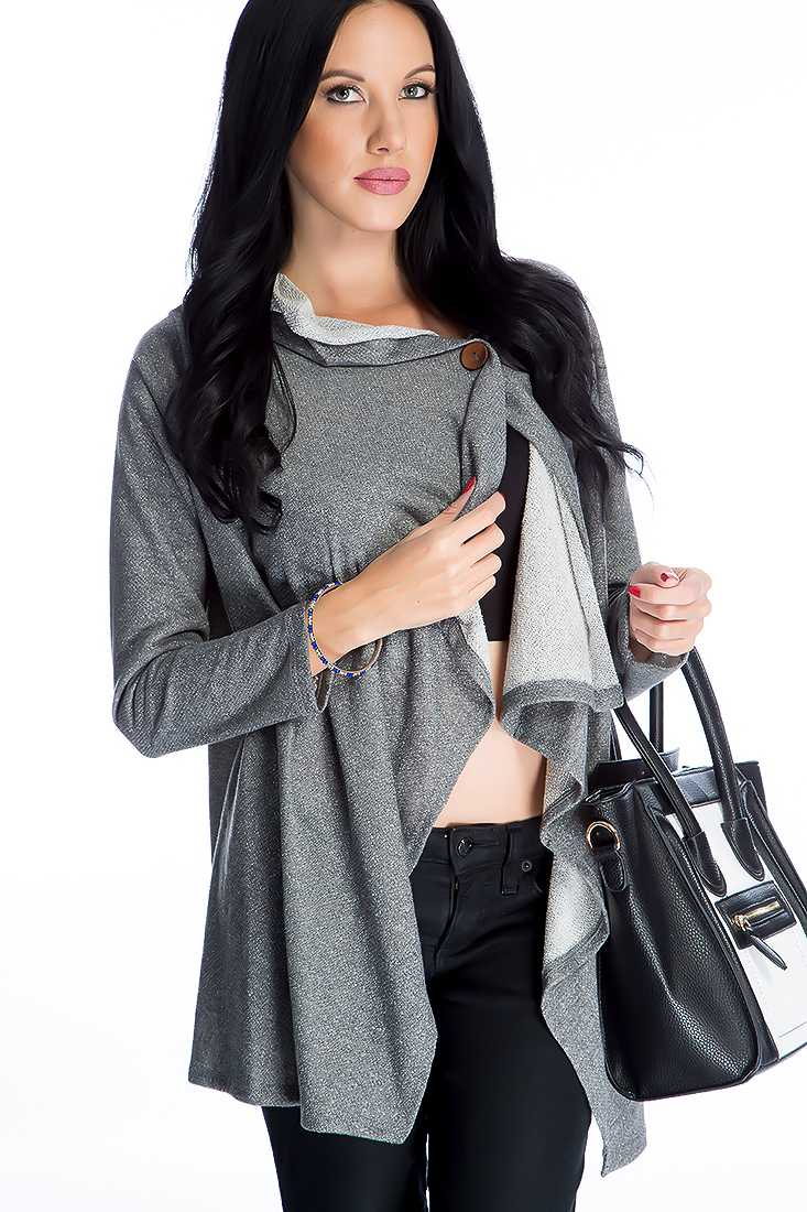 Grey Button Closure Long Sleeve High Low Sweater