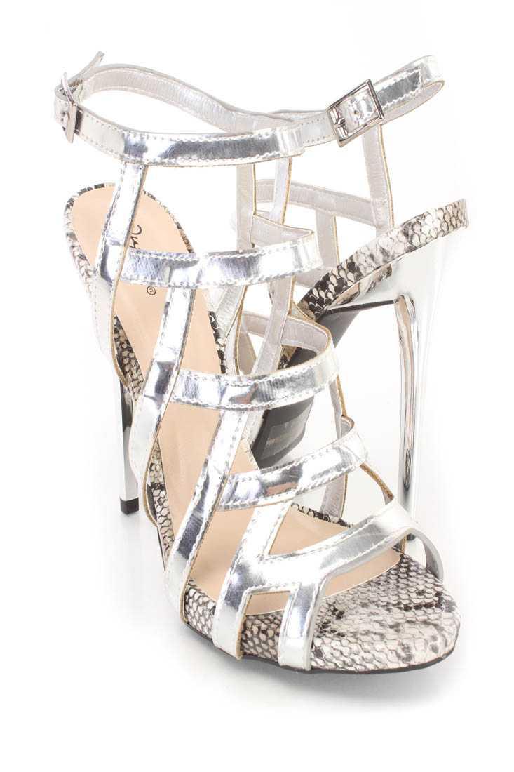 Silver Strappy Single Sole High Heels Nubuck