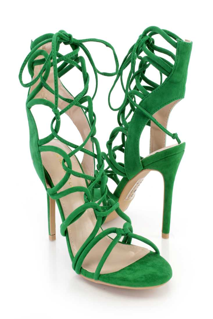 Green Lace Up Loop Strappy Single Sole High Heels Faux Suede