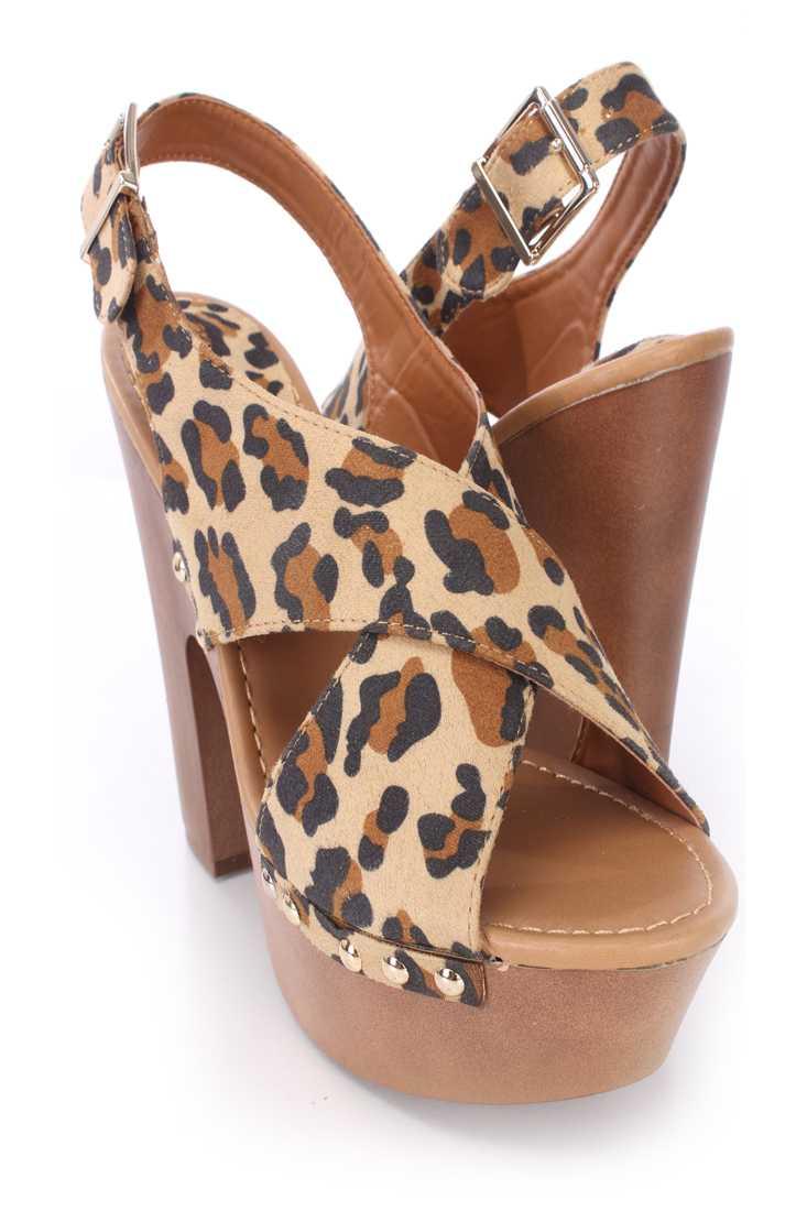 Leopard Peep Toe Cross Strap Slingback Heels Faux Leather