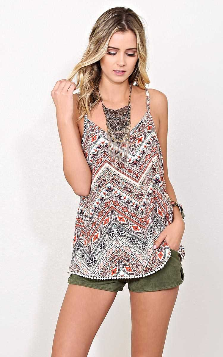 Breathless Woven Tank - LGE - Rust Combo in Size Large by Styles For Less