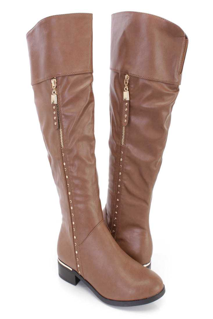Taupe Studded Zipper Detail Riding Boots Faux Leather