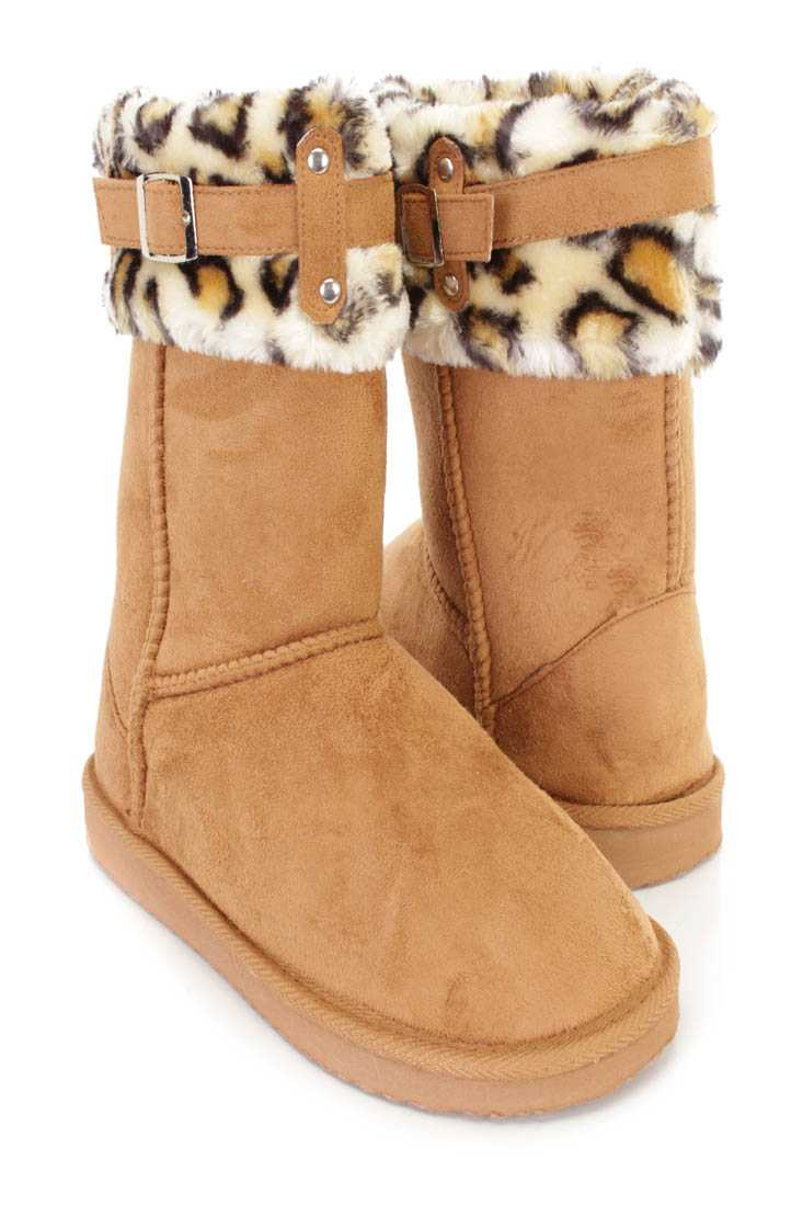 Camel Faux Fur Cuffed Casual Flat Boots Faux Suede