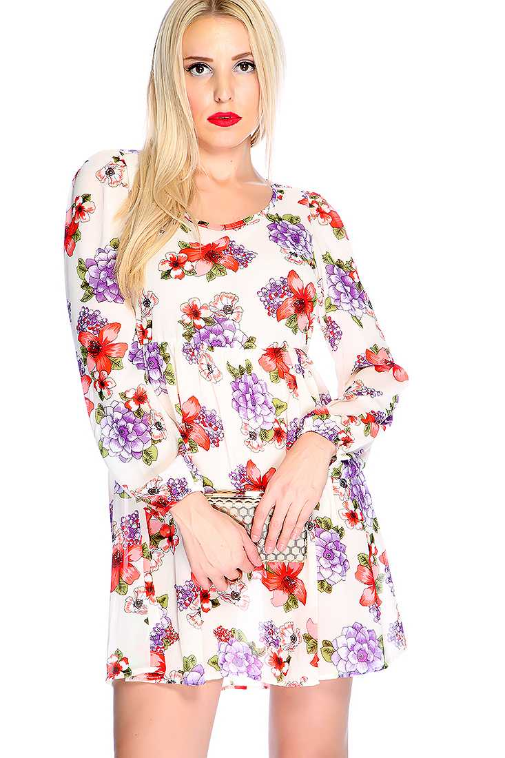 White Floral Print Quarter Sleeve Casual Dress