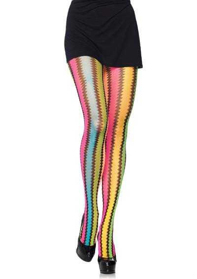 Multi Rainbow zig-zag net pantyhose