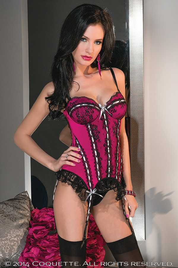 Raspberry Lace Accent Sexy Bustier