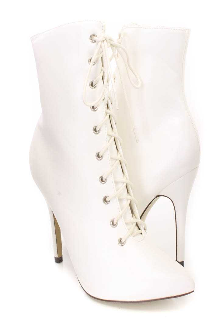 White Lace Up Single Sole Heel Booties Faux Leather