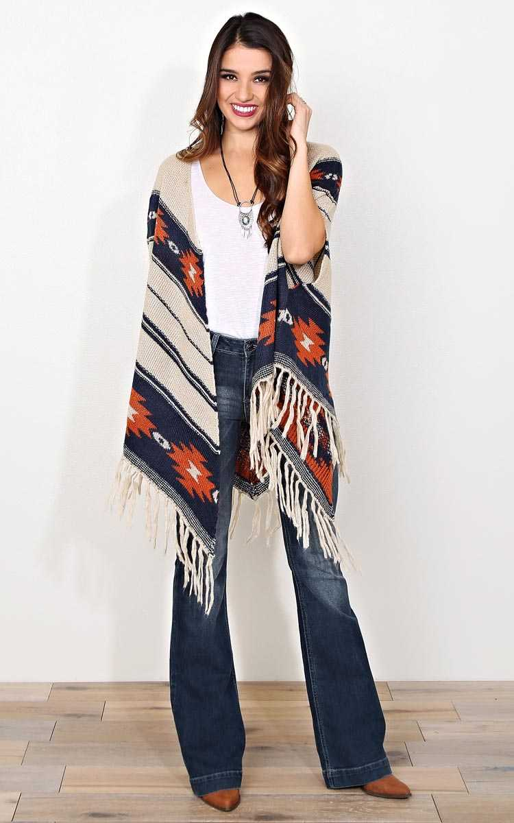 Zhai Aztec Poncho Wrap - Combo in Size L/XL by Styles For Less