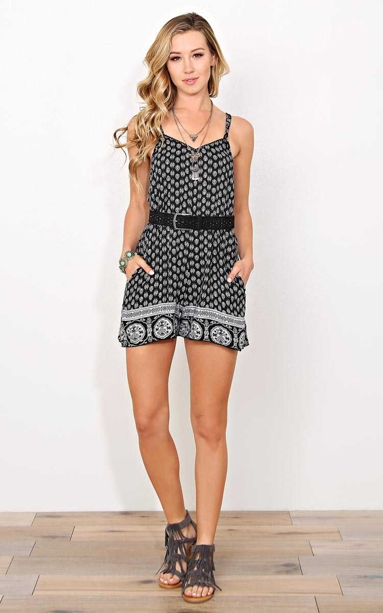 ANGIE Izabel Woven Romper - - Black Combo in Size by Styles For Less