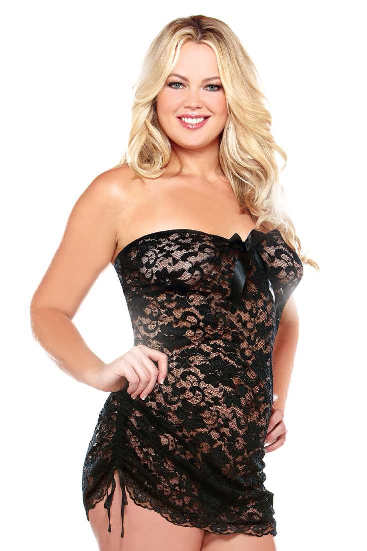 Black Plus Size Floral Lace Strapless Lingerie Dress