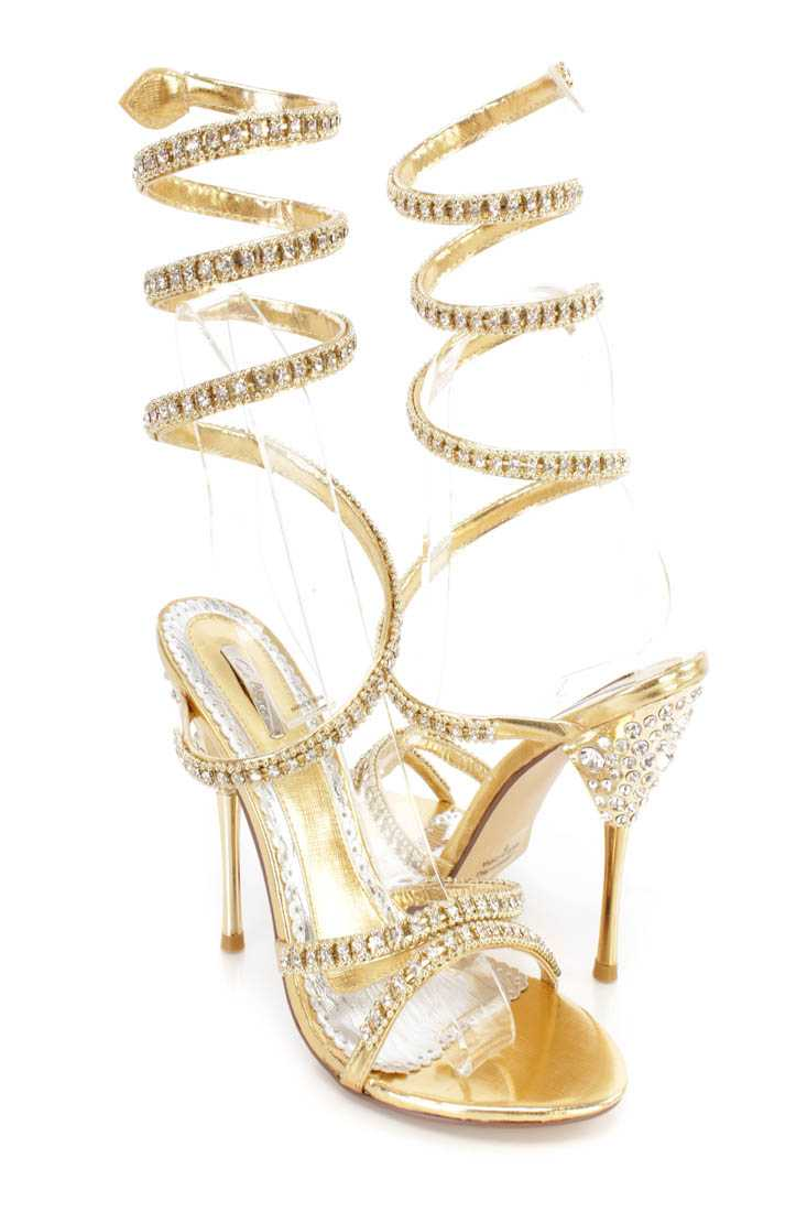 Gold Rhinestone Wrap Around High Heels Faux Leather