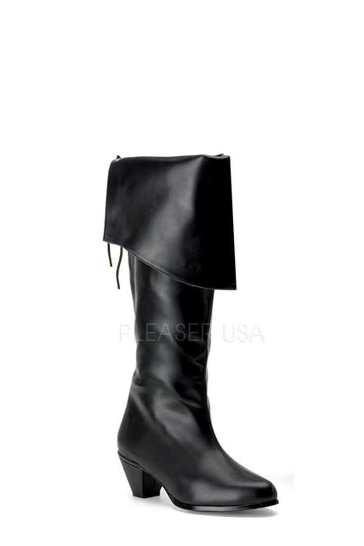 Black Folded Cuff Pirate Boots Faux Leather