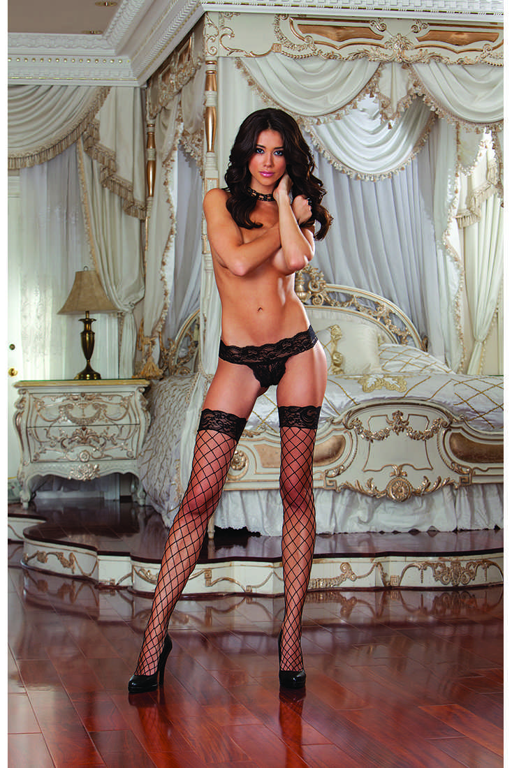 Black Silicone Lace Top Fish Net Thigh High
