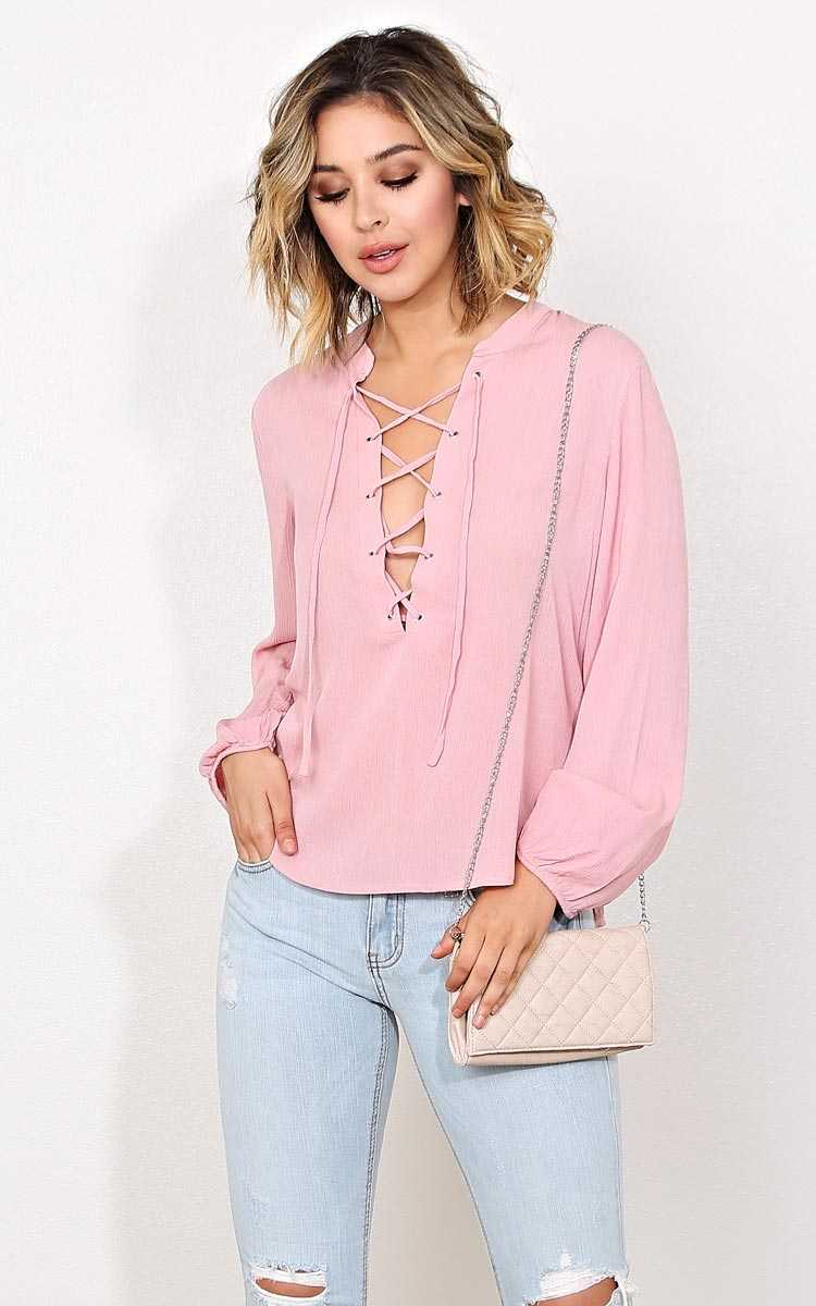 Sonoma Retreat Woven Gauze Top - - Blush in Size by Styles For Less