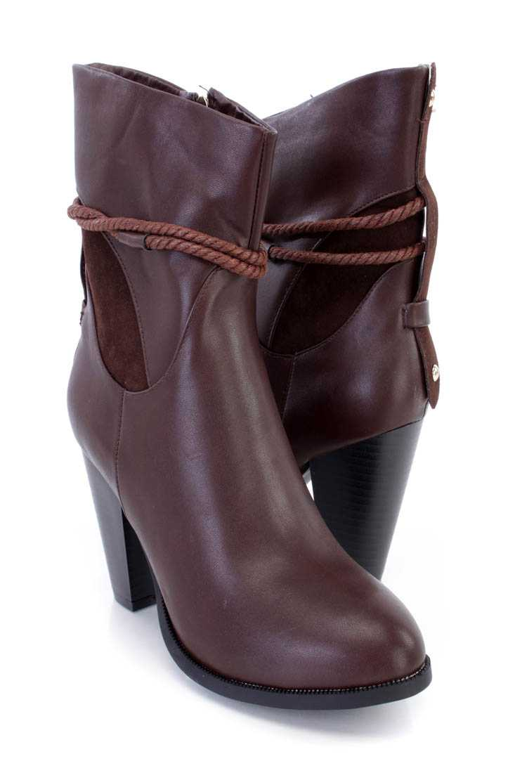 Brown Rope Strappy Chunky Heel Booties Faux Leather