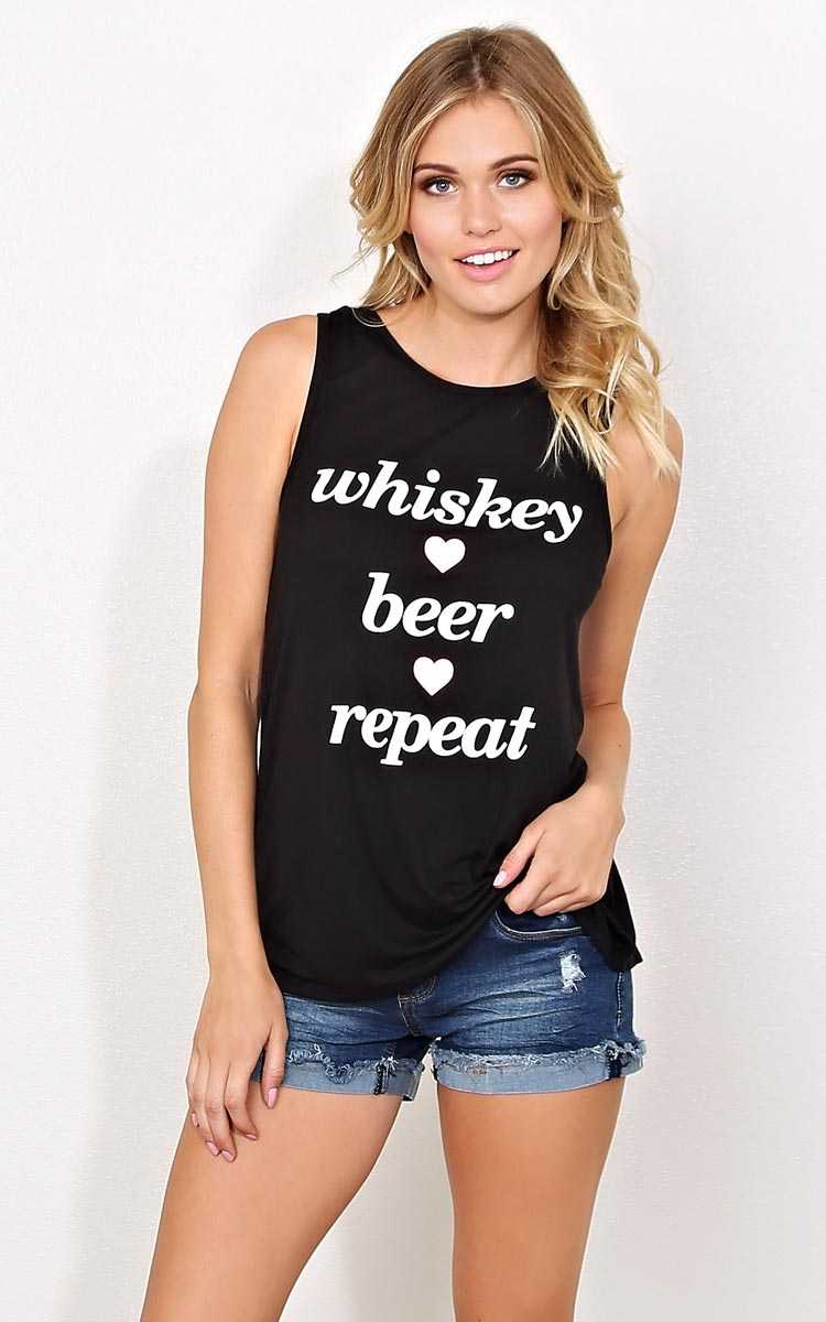 WHISKEY BEER REPEAT Knit Tank - - Black in Size by Styles For Less