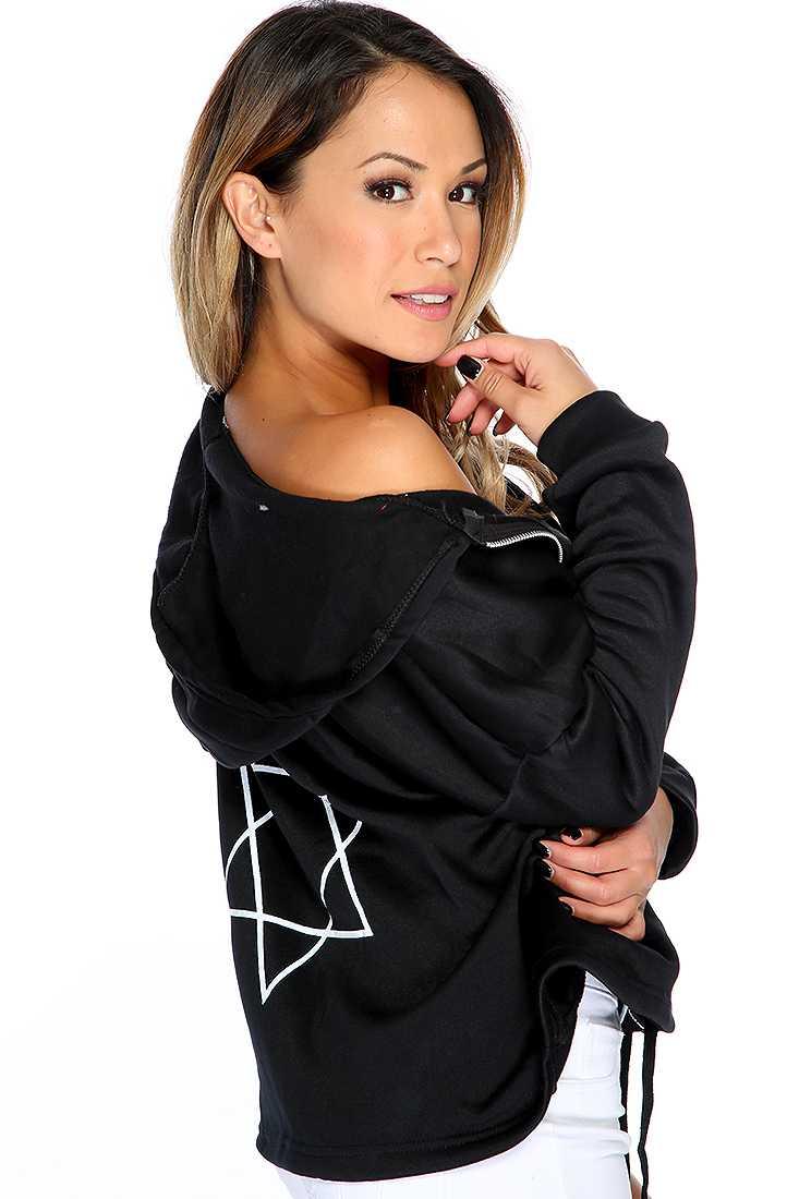 Black Star Print Zip Up Hoodie Sweater