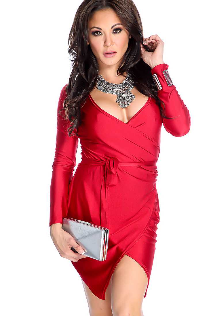 Sexy Wine Long Sleeve V Neck Cocktail Dress