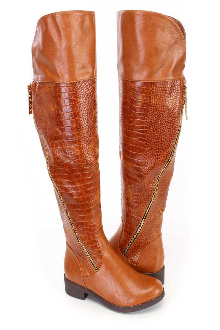 Fall/Winter Cognac High Thigh Boots Faux Leather