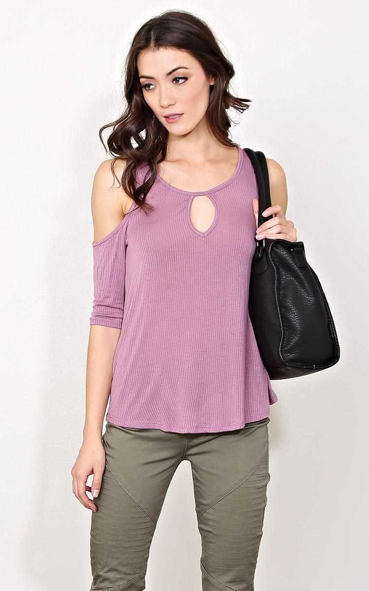 Harper Cold Shoulder Rib Knit Top - - Dusty Plum in Size by Styles For Less