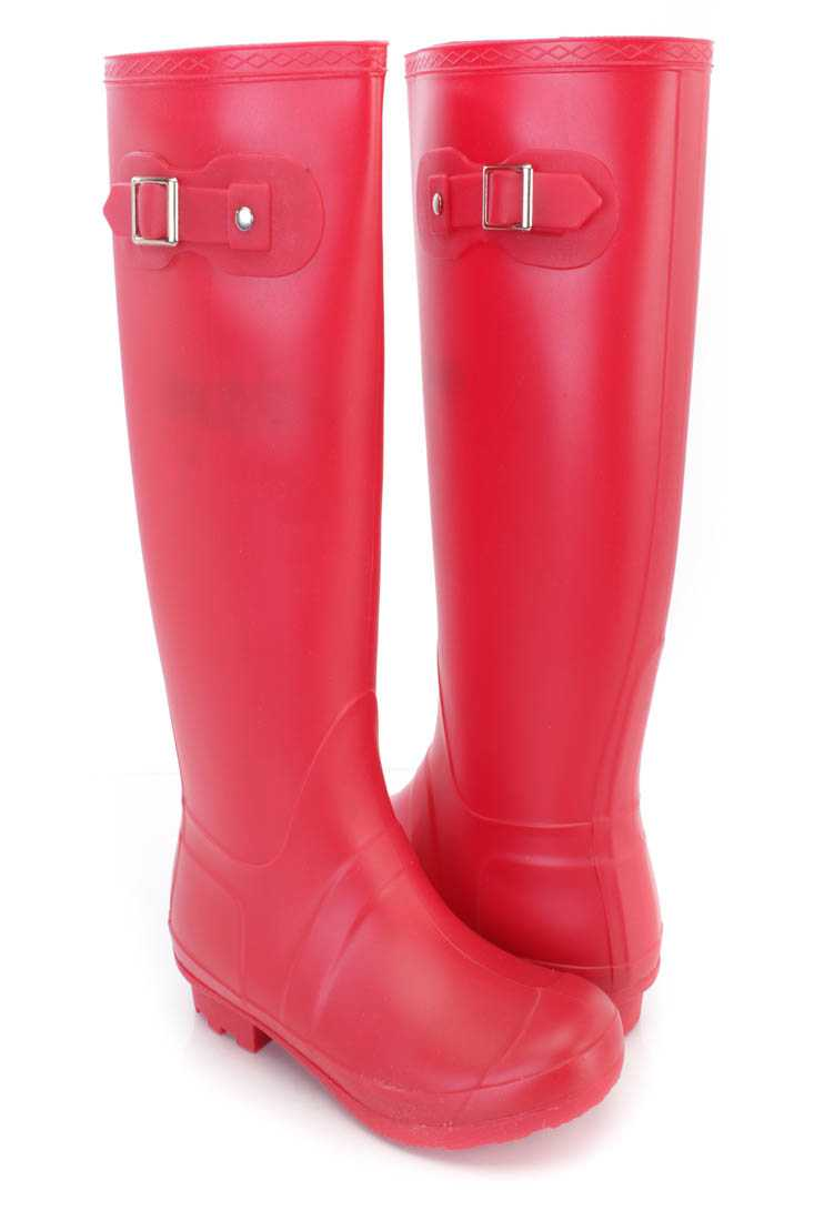 Red Slip On Rubber Rain Boots PVC
